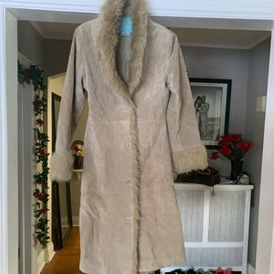 Womens suede fur trim long coat